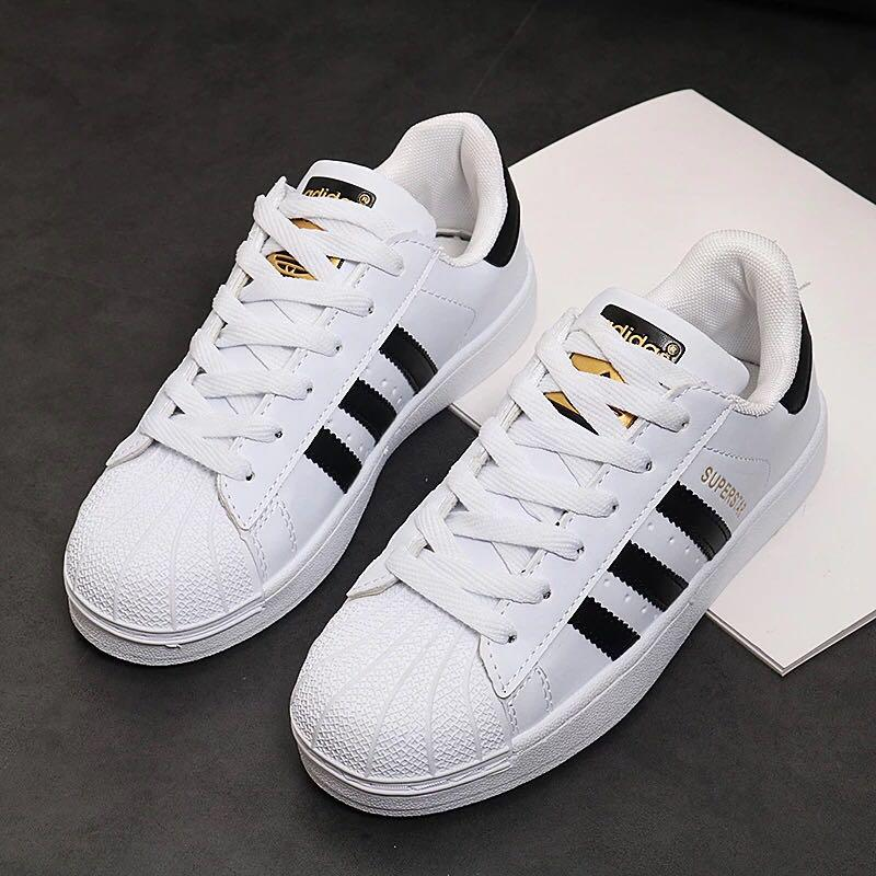 PO: Adidas Superstar white with black stripes gold label