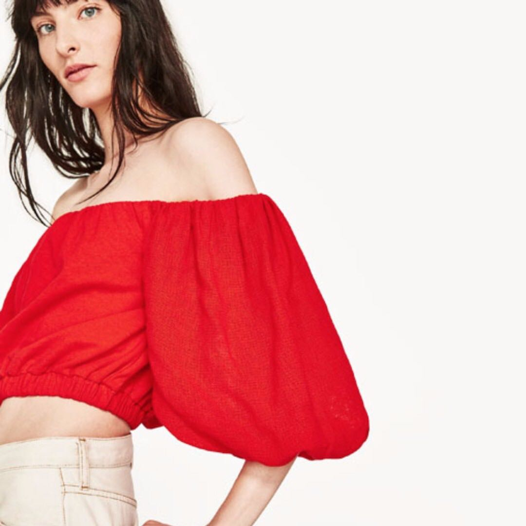 72031371bfe RTP$65 Zara Red Orange Off Shoulder Puff Sleeve Top, Women's Fashion,  Clothes, Tops on Carousell