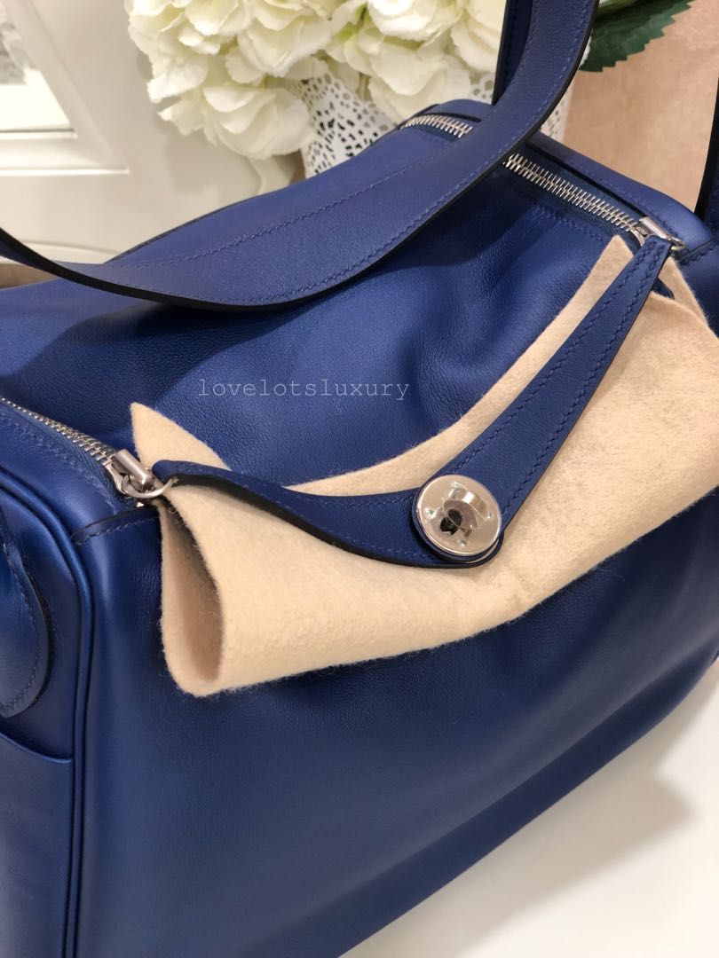 e831c5609d6de SOLD) 💙 Like New Kept Unworn Hermes Lindy 30 Bleu Sapphire Swift ...