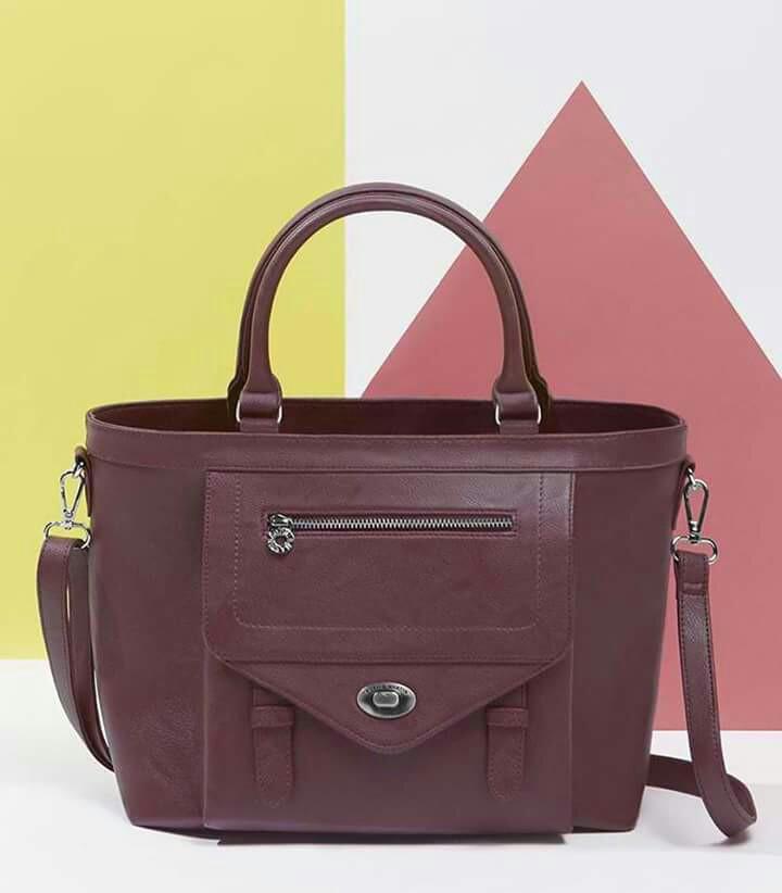 Sophie Paris Maroon faux leather bowler bag c749af9503e44