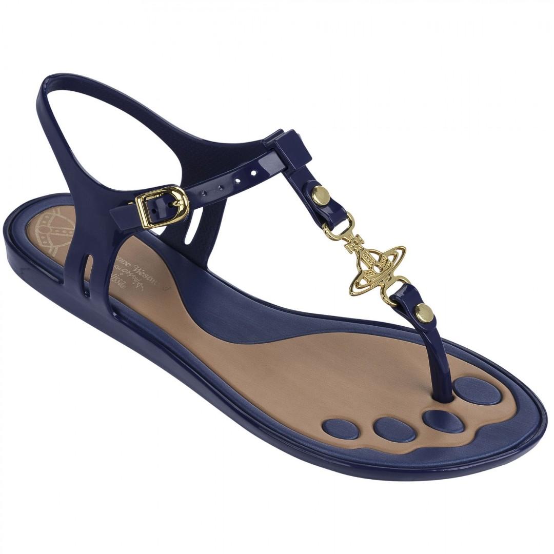 583ea1aa84b607 Vivienne Westwood for Melissa Solar Orb Toepost Flat Sandals Navy ...