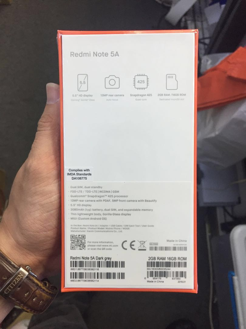 WTS:BRAND NEW REDMI NOTE 5A