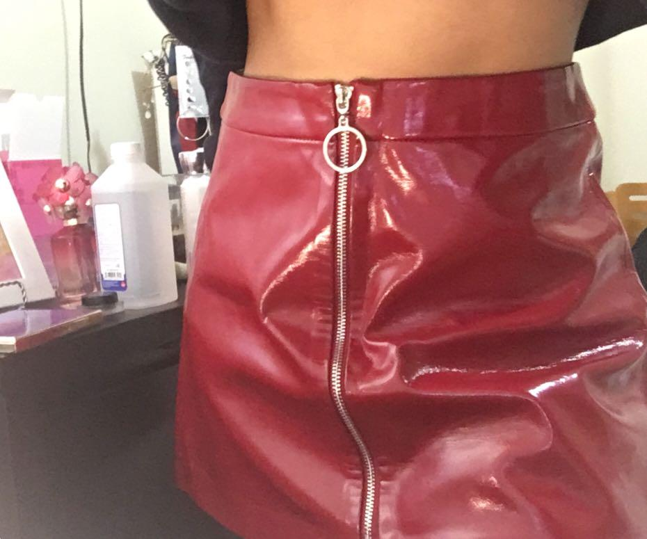 Zara Red Patent Leather Skirt