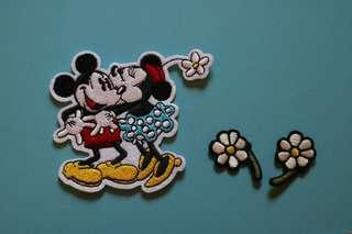 Mickey & Minnie 正品 刺繡熨縫章一套 embroidery iron-on patch set
