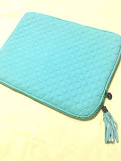 Typo mint green quilted laptop casing