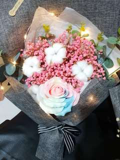 Glow in the dark rose with cotton bouquet #HariRaya35