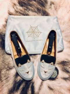 Charlotte Olympia Cat Nap Slippers Embroidered Satin Slipper