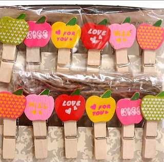 12pcs Wooden Love Pegs