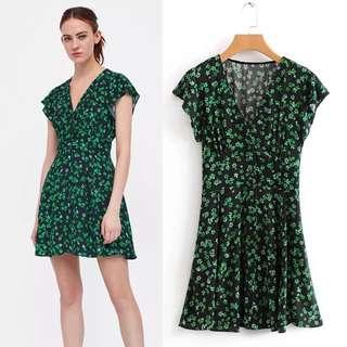 2018 Euro V-neck Short Sleeve Flower Print Waist Pullover Dress