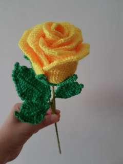 Crochet yellow rose