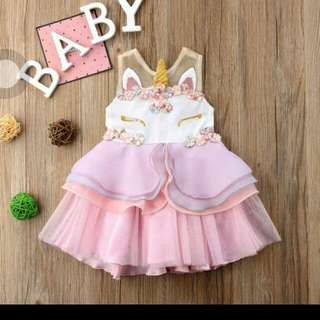 ONHAND Baby unicorn tutu party dress