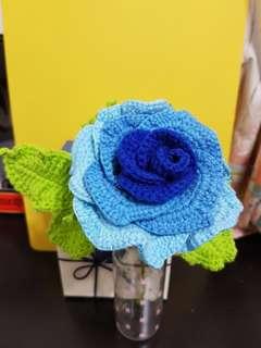 Crochet blue rose