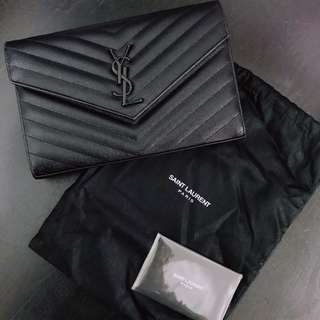 Saint Laurent monogram black leather shoulder bag