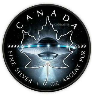 ufo maple leaf glow in dark silver coin