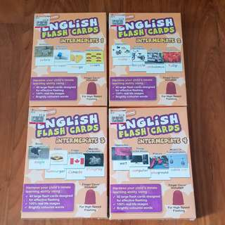4 boxes Wink to Learn English Flash Cards (Words & Pictures) Intermediate 1, 2, 3, 4 Shichida Heguru Glen Doman