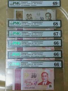 Singapore SG50 set.of same serial no and very auspicious prefix (5AH denotes in mandarin,我会 发)and serial nos 5AH000088 $50 PMG graded 69EPQ ,5x$10 in PMG 66 to 68 EPQ scarce
