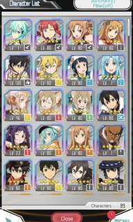Sword Art Online Memory Defrag Asia Account