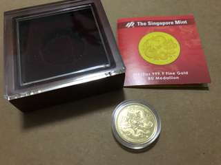 Singapore Mint 2012 dragon Gold medallion