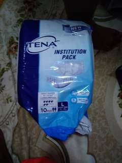 adult diaper (opened packet but leftover unused L size diapers inside)