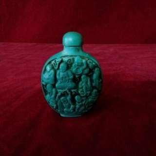"""古代綠松石 - 也称 """" 土耳其玉 """" 浮雕十八罗汉肖像的鼻烟壺"""