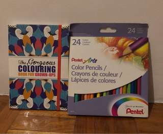 Coloring Book and Color Pencils Set