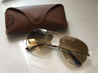 Ray Ban aviator brown with gold