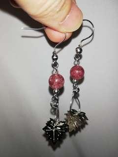 Strawberry quartz hook earrings