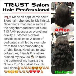 Hair services. (Private space exclusively for ladies/Muslimah, by appointment only) Loreal colour/highlight @$58(S) Loreal/Shiseido rebond/perm @ $108(L) scalp & hair treatment etc.