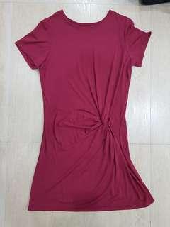Maroon Dress with Twist Detail (NEVER WORN)