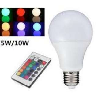 🚚 LED RGB 5W Light Bulb E27 Remote Control Light Color Variable Light, Adjustable Light, 85-265V