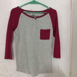Red Raglan Top 3/4 sleeves