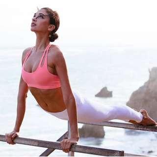 Pink Sports Bra Yoga Top Sexy Strappy Back