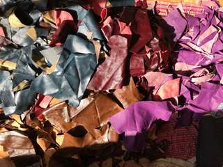 100% Leather pieces, offcuts & remnants 2kg for $35...