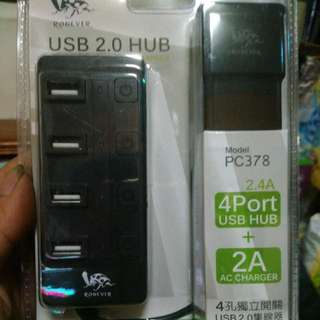 🚚 4孔獨立開關USB 2.0 HUB集線器