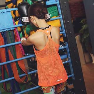 Neon Orange Workout Yoga Mesh Top