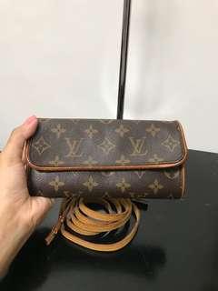 Authentic LOUIS VUITTON Monogram Canvas Twin Pochette PM Crossbody bag