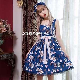【蘿莉塔雜物坊】紺色 撲克牌 愛麗絲 黑桃K jsk 日常 日系 洋裝 連身裙 俏皮 可愛 夏日 軟妹