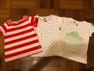 3 piece bundle lot of Petit Bateau tshirts - size 3 ans and 4 ans