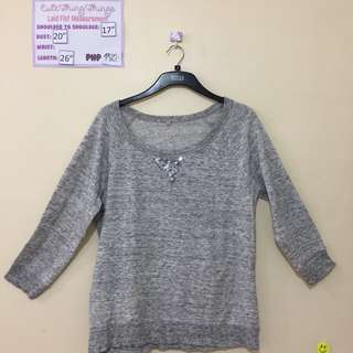 Gray Pullover with Silver Sequin Design