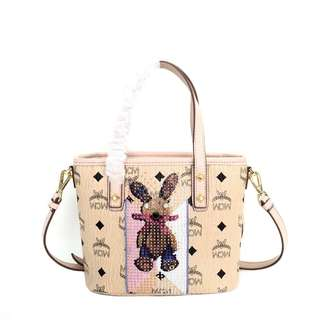 MCM Mini Anya Embellished Rabbit Top Zip