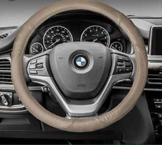 Authentic Leather Steering Wheel cover- Beige