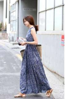 IN STOCK : BDJ8 Blue Floral Sleeveless Stretchable Waist Long Dress
