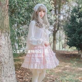 【蘿莉塔雜物坊】lolita 春夏 新款 無袖 洋裝 jsk 吊帶 棉花糖 連身裙 軟妹 cla 純色 可愛 蛋糕裙