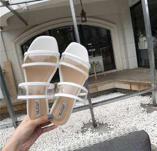 Transparent strap sandal shoes