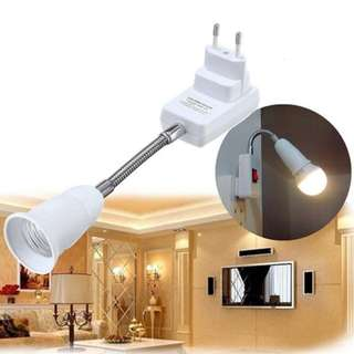 🚚 E27 Lamp Holder LED Light Bulb Universal Flexible Adjustable Converter Adapter Socket with Switch EU Plug