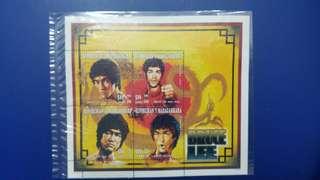 李小龍小泉張郵票外國版,有4張李小龍吾同表情郵票