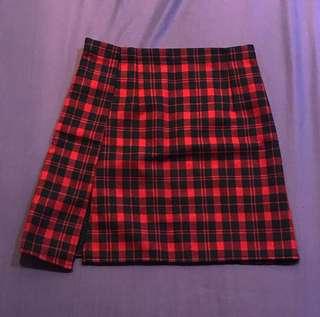 紅格紋高腰短裙