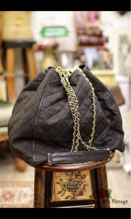Vintage Chanel Large sizes Canvas Bucket Bag with Leather Trim