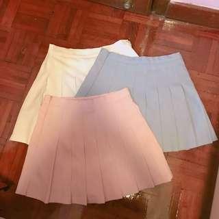 白色 粉紅色 淺藍色 韓國製造百摺裙 網球裙