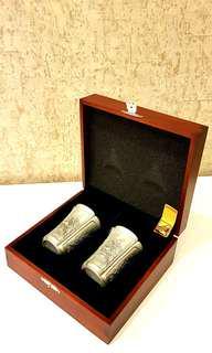 Royal Selangor Pewter: Four Seasons Beaker Pair in Wooden Gift Box